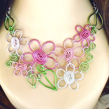 Summer's Eve Bouquet Flower Bib Necklace by refreshingdesigns