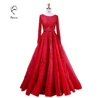 Elie Saab Evening Dresses Elegant with Long Sleeve Crystal Beading Scoop-Neck Sashes Lace Ball Gown Prom Dresses Fast Shipping