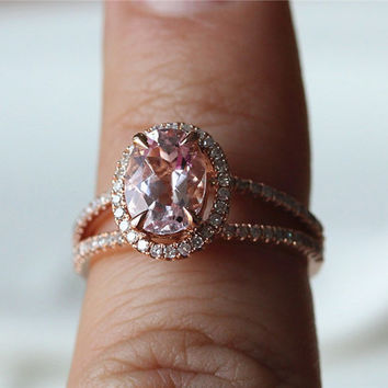 Halo Oval VS 6x8mm Morganite 14K Rose White Gold Diamonds Ring/ Engagement Ring/  Wedding Ring/ Promise   Ring/ Anniversary Ring