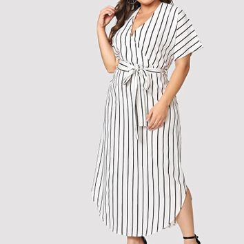 Plus Striped Belted Split Dress
