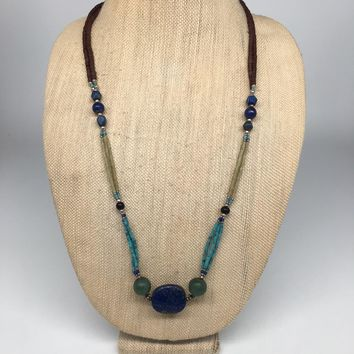 "42.6g, 2mm-26x23mm,Lapis Nephrite Jade Beaded Necklace @Afghanistan,28"",NPH83"