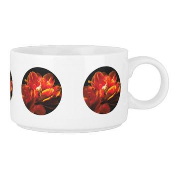 Red tulips dark background bowl