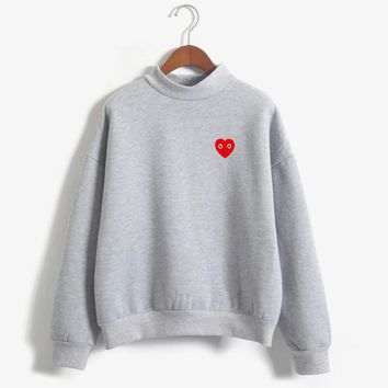 Spring Autumn Casual Wear Pullovers Fleece Cute Smile Love Heart Printed Hoodies Women Kawaii Harajuku Sweatshirt