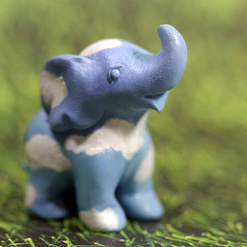 Blue Sky Elephant with Clouds Original Figurine