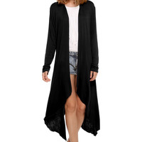 Plain Long-Sleeve Asymmetrical Cardigan