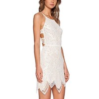 Women's Ivory Lace Trim Hem Cut Out Bandage Strap Dress