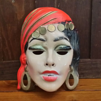 Vintage Plastic Gypsy Fortune Teller Woman Costume Masquerade Halloween Mask
