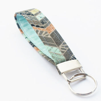 Chevron Key Chain, Handmade Fabric Key Fob Wristlet