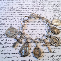 Religious Medals and Cross Bracelet Upcycled Jewelry Catholic Jewelry