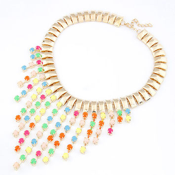Exaggeration Fluorescent Colorful Gemstone Short Pendant Tassel Necklace, Lady-wearing Jewelry, Party Jewelry, Birthday Gift 11042665