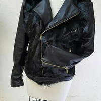 Black biker jackets cow fur