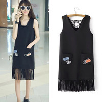 Summer Embroidery With Pocket Tassels Slim Vest Dress One Piece Dress [6332330884]