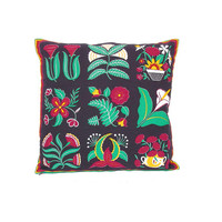 Vintage Pillow Cover -- Cotton Floral Pillow Case -- Scandinavian Folk Print -- Boho Throw Pillow -- Black Red & Green -- 16 x 16
