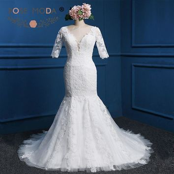 Rose Moda V Neck Mermaid Wedding Dress Half Sleeves Lace Wedding Dresses with Crystals Cut Out Back Plus Size Real Photos