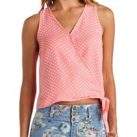 Polka Dot Side-Tie Wrap Tank Top by Charlotte Russe