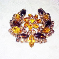Spectacular Yellow and Topaz Swarvoski Crystal Rhinestones Juliana Vintage Mad Men Brooch Autumn Color Marquis Cabochons Weiss DE Jewelry