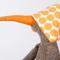 Knitted silk Bird duck or maybe a penguinDeep yellow by timor