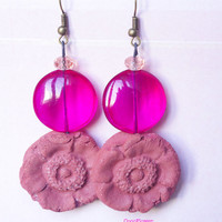 Pink Fuchsia drop earring , Flower ceramic earring , artisan ceramic jewelry , boho earring dangle