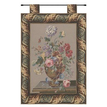 Still Life Belgian Floral Bouquet, With Border Woven Tapestry, Wall Hanging NEW