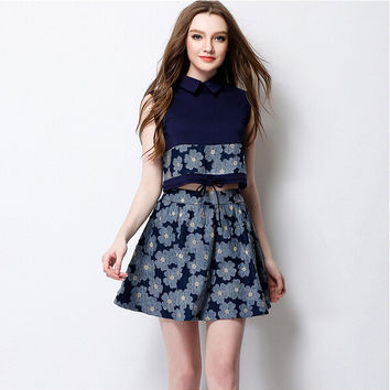 Navy Floral Print Sleeveless Collared Crop Tank With Paired Skirt