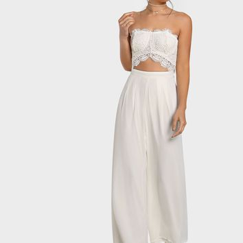 Crochet Cut Out Strapless Jumpsuit IVORY