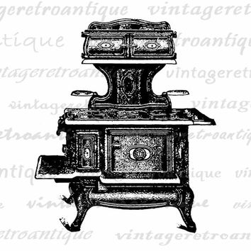 Printable Graphic Antique Stove Illustration Digital Kitchen Download Image Vintage Clip Art Jpg Png Eps  HQ 300dpi No.1380