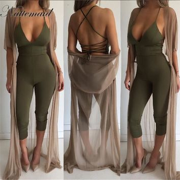 NATTEMAID 2017 Women jumpsuits rompers Summer Cotton Tight fitted Rompers Long Pants Drop V neck Bodysuit Women Overalls Bodycon