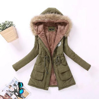 Parkas Women's Winter Coat Cotton Jacket Hooded Outwear