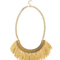 Gold Tribal Leaf Necklace