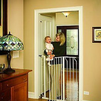 Walk Thru Gate Extra Tall White Nursery Babies Pets Cages Toddlers Dogs Portable