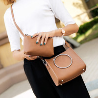 Women 2Pcs Shoulder Bag Leather Messenger Hobo Bag Satchel Tote Purse Handbag Wallet Gift