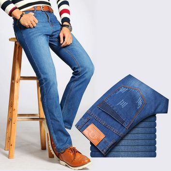 New men Business style jeans famous brand men jeans Summer fashion blue color slim fit pants trousers male long jeans for men