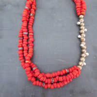 Red Boho Layered Necklace, Eco friendly African Metal and Clay Beads, Colorful Summer Jewelry