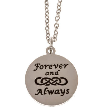 Stainless Steel Charm Necklace Forever and Always Double Infinity