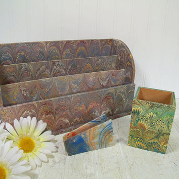 Bohemian Wallpaper Desk Collection of 3 Pieces - Vintage Office Large Letter File Made for Tiffany & Co. - Square Pen Cup Il Papiro Firenze