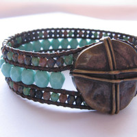 Beaded Leather Cuff/Bracelet, Brown leather, Turquoise, Beaded Bracelet