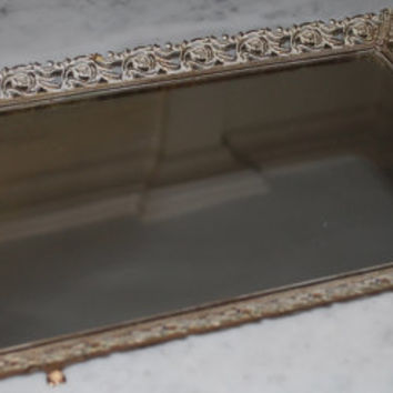 Early Antiqued Mirror Perfume Trays (2 Available)