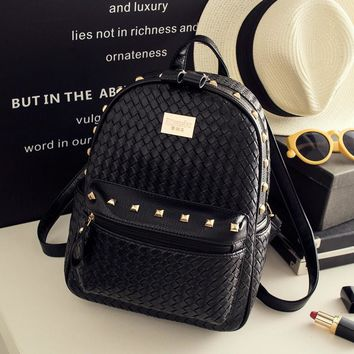 Day-First™ Black Studded Leather Backpack Travel Bag