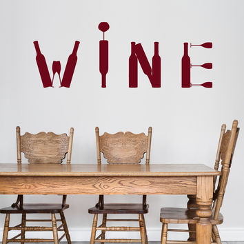 Vinyl Wall Decal Wine Bottle Bar Alcohol Restaurant Stickers Unique Gift (ig4790)