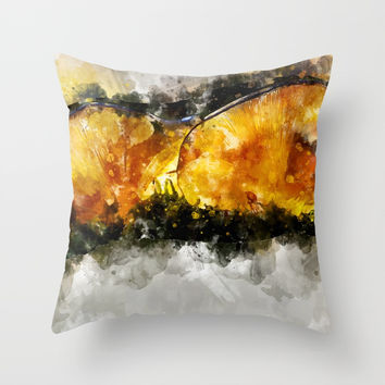 Forest Yellow Mushroom Throw Pillow by creativeaxle
