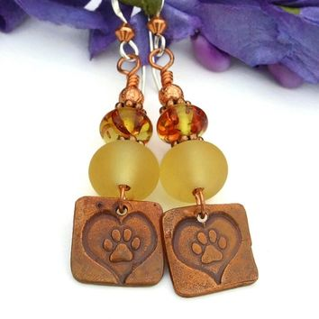 Dog Paw Print and Hearts Earrings, Yellow Lampwork Amber Copper Handmade Dangle Jewelry