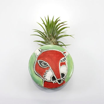 Fox Magnetic Wall Bud Vase | holds water flower air plant pencil pen holder | red white green wall planter pocket | in stock