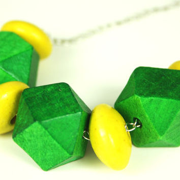 Lime Green Necklace with Faceted Wood Beads, Statement Necklace, Geometric Jewelry