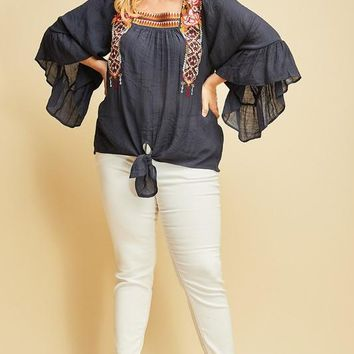 MADISON Square Neck Embroidered Top in Navy