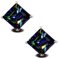 Rainbow Peacock Multi Color Square Princess Cut CZ Basket Set Sterling Silver Stud Earrings 5mm