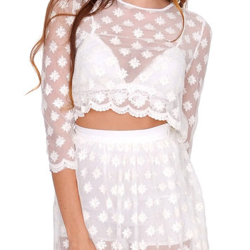 Endless Lace Crop Top Cream