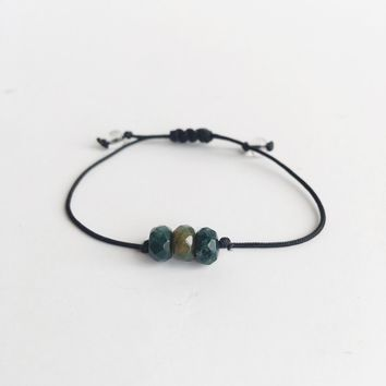 Moss Agate ~ Choose a String Color ~ Faceted Moss Agate Minimalist Bracelet