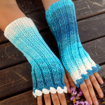 Knitted Gloves, Turquoise,Crochet Gloves,Hand Warmer,Winter Gloves,Long Knitted Gloves,Women Gloves,Arm Warmers,Gift Ideas,Jasminejasmine