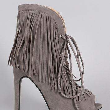 Curved Corset Fringe Peep Toe Booties