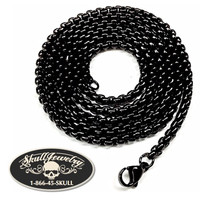 """BLACK Stainless Steel Mens 24"""" x 1/6"""" Box Necklace (n011)"""